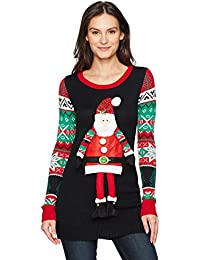 Women's L/s Christmas Tunic W/Dangling Santa