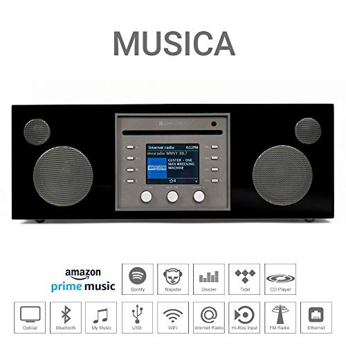 Como Audio: Musica - Wireless Music System with CD Player, Internet Radio, Spotify Connect, Wi-Fi, FM, Bluetooth and One Touch Streaming - Piano Black by Como Audio (Image #3)
