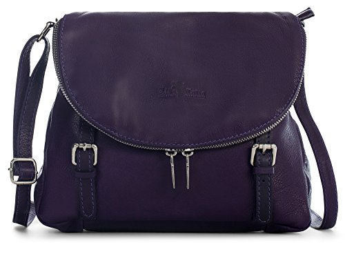 STELLA Cross Genuine Medium Shoulder Purple Soft Buckle Effect Body Tuscan Handbag Italian Deep LIATALIA Leather 7pH8x7n