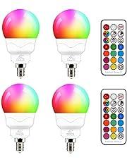 E14 LED-lamp 5W (vervangt 40W) RGBW met afstandsbediening koud wit 5700K sfeer RGB kleurverandering gekleurde lamp lamp dimbaar (pak van 4)