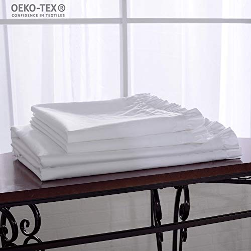 (Simple&Opulence 4 Piece 100% Cotton Flouncing Pink White Beige Sheet Set Including 1 Flat Sheet 1 Fitted Sheet and 2 Pillowcases (Full, White))