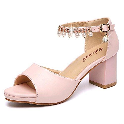Zapatos LI Verano Alto Toe Chanclas heelsWomen Bajos Sandalias señoras Peep Sandalias BAJIAN Zapatos fT7qdw7