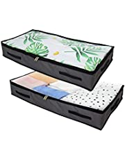 Underbed Storage Bag Closet Storage Bag Shoe Storage Organizer Large Size 2 Pack Capcity Flat Shape for Comforters Blankets Bedding Clothes Quilts Sweaters Durable Handles Clear Window