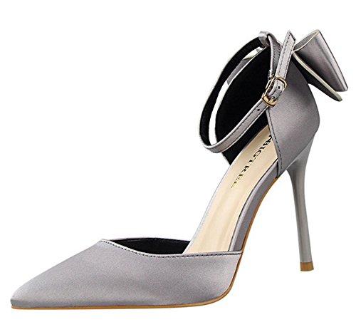 High Elegant Aisun Bow Buckled Stiletto Hollow Heel Pointy Sandals Women's Grey FOwqqxUSH0