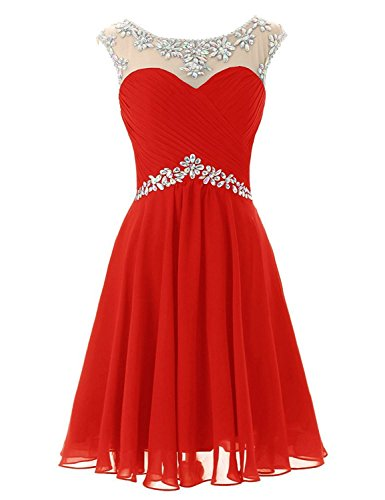 Sarahbridal Juniors Prom Dresses Short 2019 Beaded Sequin Wedding Party Maid of Honor Gowns Red US4 (Best Maid Of Honor Dresses)