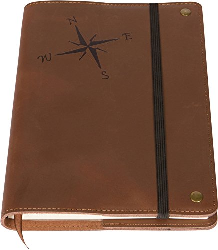 Compass Rose Real Leather Refillable Writing Journal | Elastic Strap | Blank Journal | 200 Lined Pages, 5 x 8 Inches for Travel, Personal, Poetry | Brown | The Amazing - Review Men's Journal