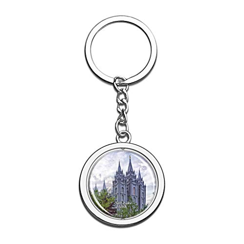 Hqiyaols Keychain USA America Temple Square Salt Lake Souvenirs Crystal Spinning Round Stainless Steel Key Chain Ring Travel City Gifts Metal