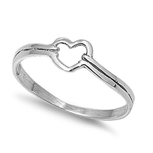 VE-01033 Sterling Silver Heart Design Ring (Heart Design Ring)