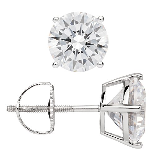 Everyday Elegance | 14K Solid White Gold Round Cut Cubic Zirconia Stud Earrings | 4.0 ctw | Screw Back Posts | With Gift Box by Everyday Elegance Jewelry