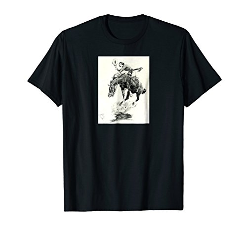 Rodeo Cowgirl T-shirt riding bucking horse