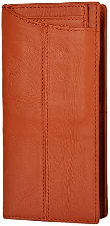 Le'aokuu Mens Genuine Leather Bifold Wallet Organizer Checkbook Card Case