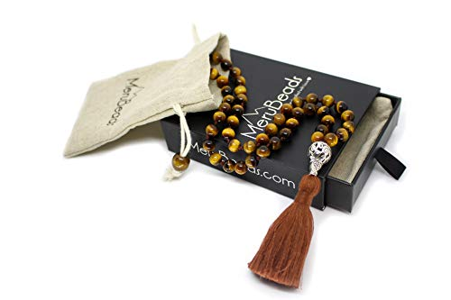 Premium Pocket Mala Beads - Tiger's Eye - 54 Beads Mala - Travel Mala Beads - Meditation Necklace for Children - Handmade Malabeads - Mini Mala Beads Necklace - Hand Mala Beads