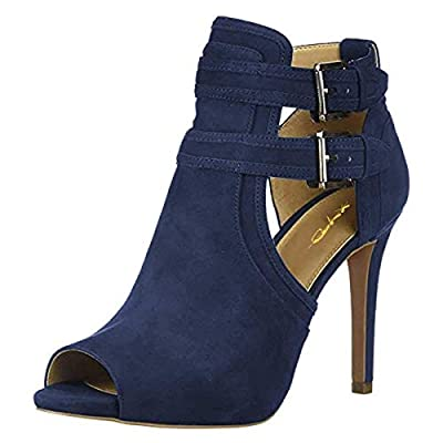 XYD Women Peep Toe Ankle Boots High Heels Buckled Double Straps Cut Out Fashion Pumps Shoes
