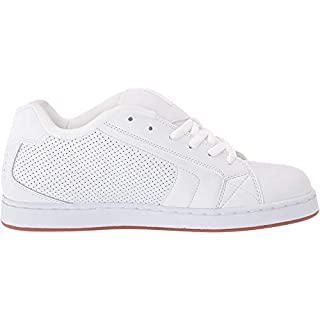 DC Men's Net Skate Shoe, White/White/Gum, 18 D M US
