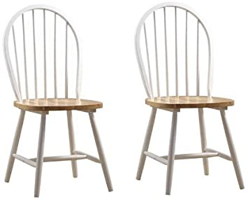 Amazon Com Boraam Set Of 2 Windsor Dining Chairs With Natural Seat In White Finish Chairs