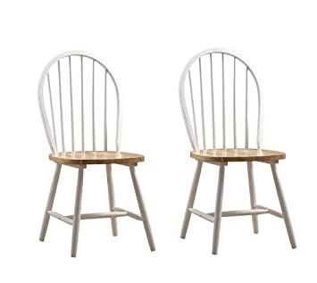 Set of 2 Windsor Dining Chairs with Natural Seat in White Finish