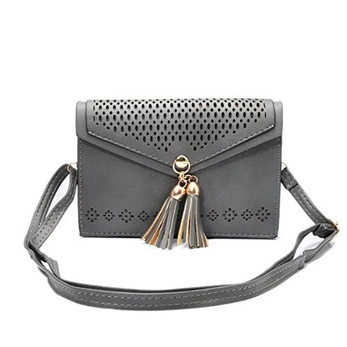 Cross-Body Cell Phone Bag, Dteck(TM) Vintage Elegant Hollow Out Flower Design PU Leather Cell Phone Purse with Fashion Fringe for iPhone 6 6S 6S Plus,Samsung Galaxy Series Note 4 S6 S7--Gray