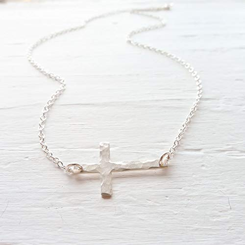 (Sterling Silver Sideways Cross Necklace)