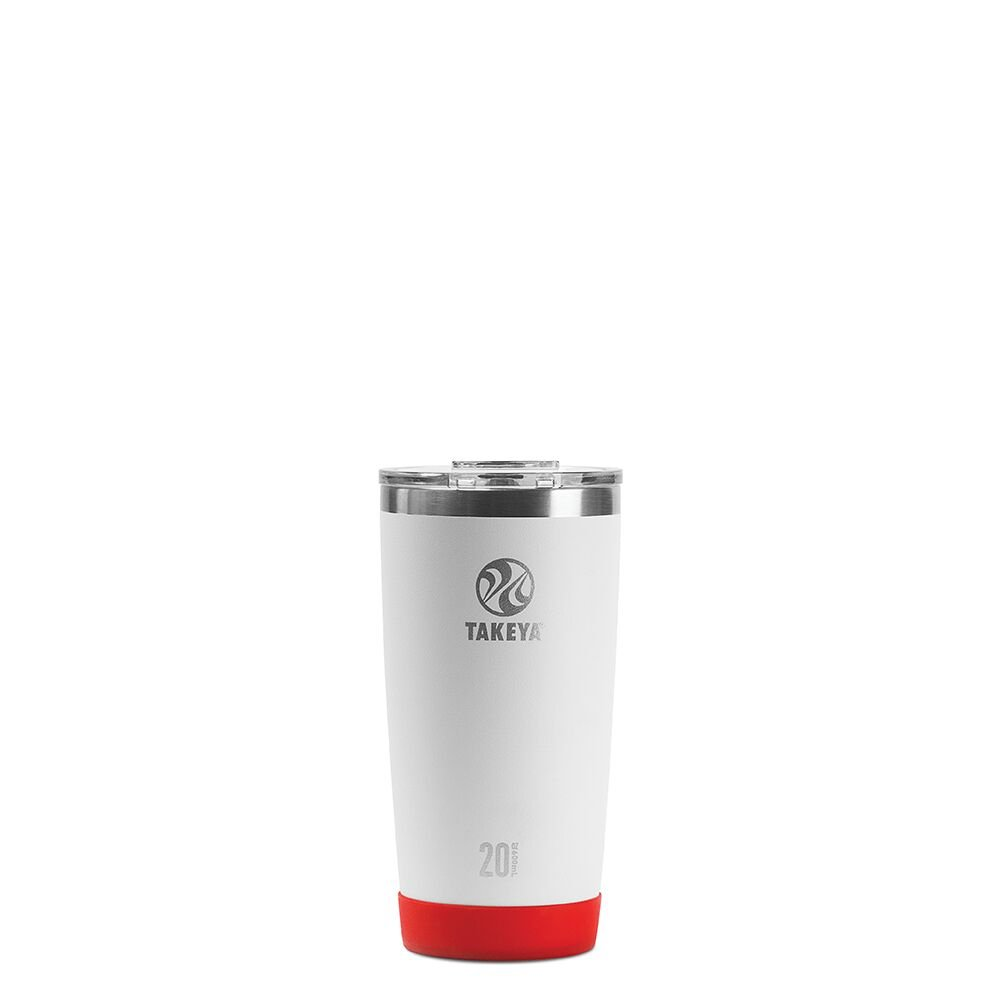 Takeya Actives Insulated Stainless Tumbler with Flip Lid, 20oz, White (American Spirit Collection)