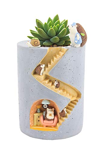 Segreto Creative Plants Pots Brush Pot Flower Pots Vase for Succulent Plants with Sweet Hedgehog Friends