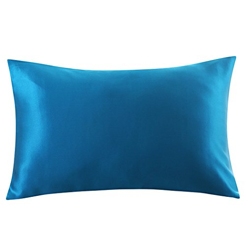 ZIMASILK 100% Mulberry Silk Pillowcase for Hair and Skin,Both Side 19 Momme Silk, 1pc (Queen 20''x30'', Peacock Blue) (And Christmas Bedding M S)