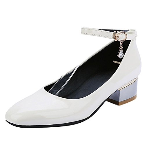 Show Shine Womens Sexy Patent Leather Block-heel Mary Jane Shoes White 2PIZiTuecS