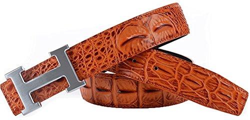 IGoblin Men Business Casual H Style Buckle Leather (Caiman Crocodile Belt)