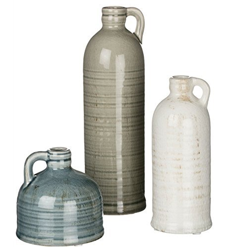 London Home Décor Set of 3 Jugs - Three Different Sizes and Colors (small - blue 4 inch medium - white 7.25 inch large - green 10 inch all featuring a .75 inch opening)