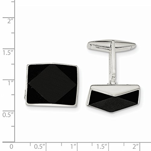 ICE CARATS 925 Sterling Silver Black Onyx Cuff Links Mens Cufflinks Link Fine Jewelry Dad Mens Gift Set by ICE CARATS (Image #3)