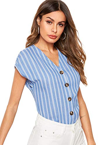 Floerns Women's V-Neck Stripe Cap Sleeve Button Down Summer Shirts Blouses Tops Blue and White XS ()