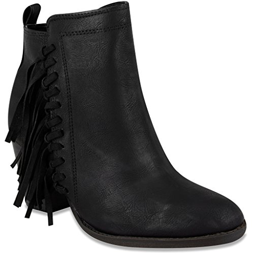[Sugar Womens VINE Bootie Ankle Boot with Fringe 7.5 Black] (Zipper Fx Kit)
