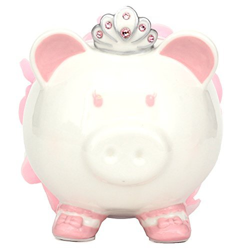 Swarovski with Crown Princess Porcelain Piggy Bank for Kids by FAB Starpoint (Pink) ()