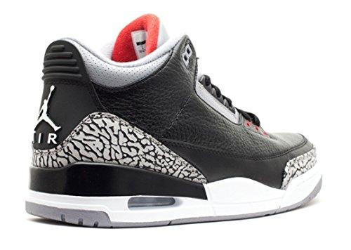 Nike Heren Air Jordan 3 Retro Zwart / Varsity Rood-cement Grijs Leer Maat Zwart / Varsity Rood-cement Grijs