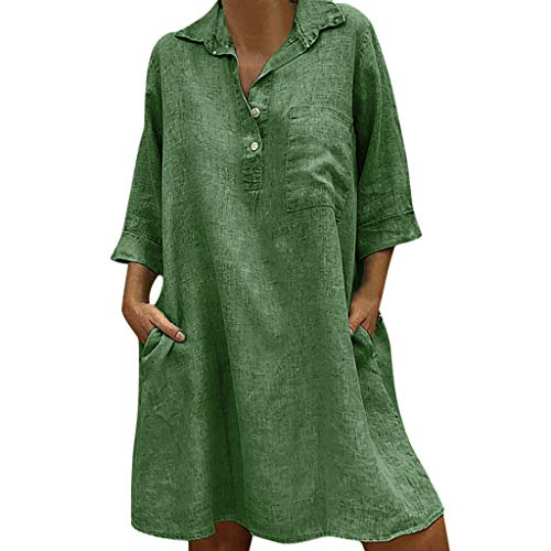 FAPIZI Women Summer Retro Solid Loose Bohemian Linen Ethnic Shirtdress Casual V-Neck Pockets Ladies Dress Green