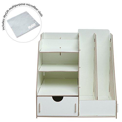 All-in-One Beige Wood Desktop Organizer Rack w/ 2 Magazine Holder, Drawer, Shelf Cubbies & Office Supply Holder Photo #3