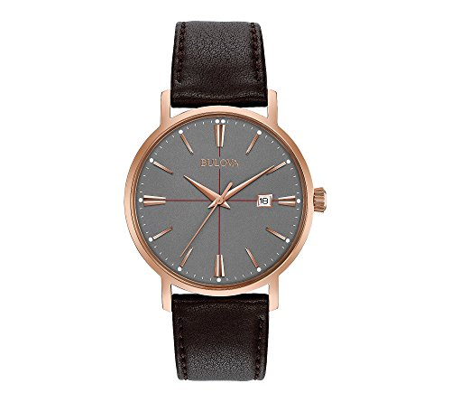 Bulova Men's 39mm Classic Rose Goldtone Brown Leather Strap Watch
