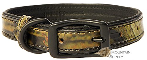 Tasmans Camouflage Bison & Black Elk Leather Dog Collars (Bison Leather Dog Collar)