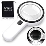 Yimaler 30X Handheld Magnifying Glass with 12 LED UV Light, Exquisite Gift Box Portable Black Pouch Extra Large Magnifier Double Glass Lens for Reading Maps Currency Detect Science for Seniors Kids