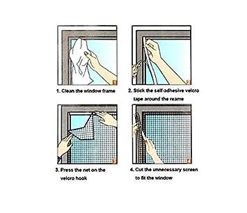Mosquitera magn/ética para ventana mosquitera con velcro para protecci/ón de insectos cortina de ventana 150 x 130 cm-E001