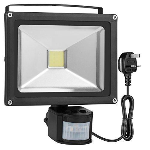 Warmoon LED Flood Light 20W Daylight White PIR Motion Sensor Light 6500K 1200lm Waterproof Security Lights with UK Plug LED Lights for Yard, Patio, Porch, Garden