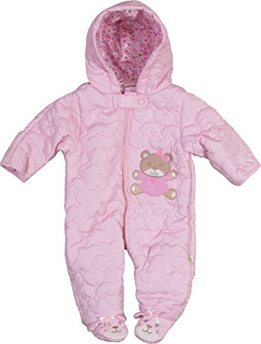 Duck Duck Goose DDG Baby Girls Quilted Nylon Pram Snowsuit, Pink Bear, 6-9 Months' (Infant Girl Snowsuit)