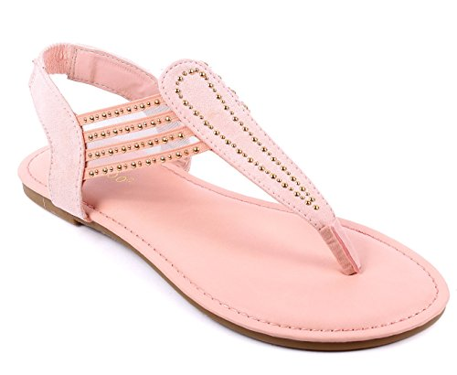 Bamboo Fashion Slip on Only Style Blink Slingbacks Flats Womens Casual Sandals Shoes New Without Box Peach uqR0IB1Q
