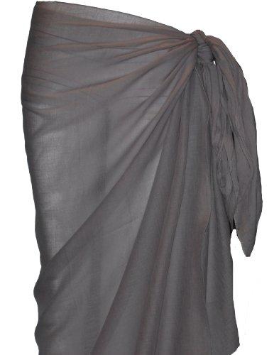 Passion4Fashion Plain Cotton Sarong-Grey-100cmx180cm