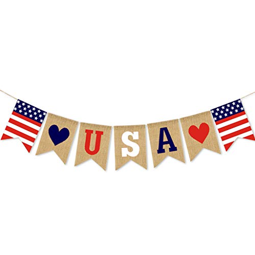 Celebrate 4th July USA Independence Day Banner Festival Layout Outdoor Interior Ceiling Decoration (A)]()