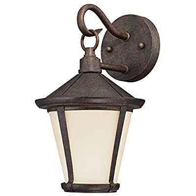 6204100 Darcy One-Light LED Wall Lantern, Victorian Bronze Finish with Amber Frosted Glass