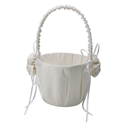 OULII 2-Pack Wedding Satin Flower Girl Basket Ivory With Rose Decorated by OULII (Image #1)