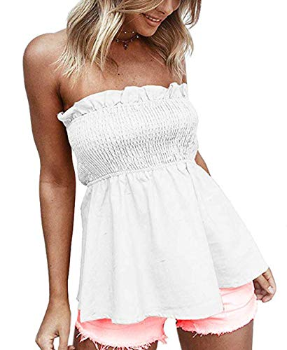 (KAMISSY Women's Smocked Tank Top Strapless Frill Trim Tube Top White)