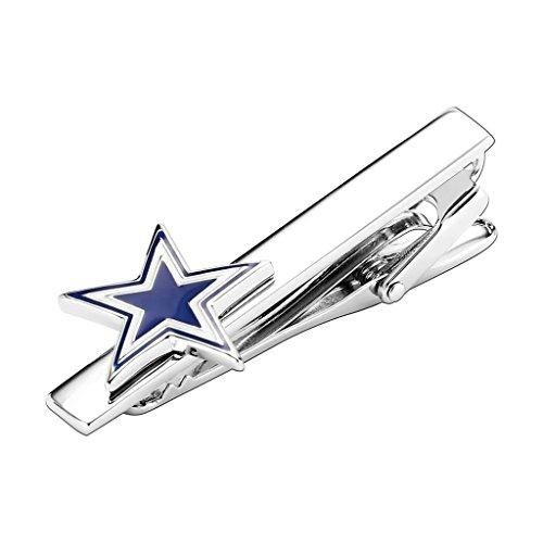 Daesar Men's Stainless Steel Tie Clips White Blue Glitter Five Pointed Star Cufflink