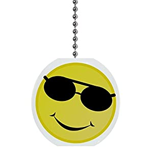 Yellow Smiley Face with Sunglasses Solid Ceramic Fan Pull