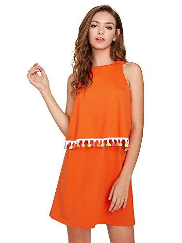 Romwe Womens Round Neck Tassel Trim Sleeveless Mini A-line Dress Orange XS (Trim Dress Sleeveless)